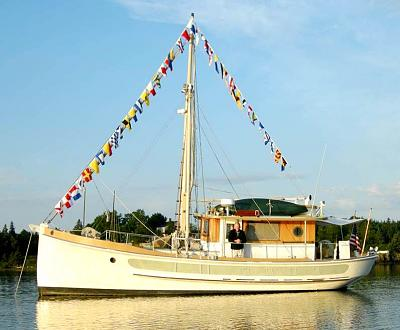 For sale unique garden designed 37 ft wooden trawler with for Garden design trawler boat