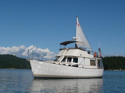 Click image for larger version  Name:three quarter view at anchor with sail up.jpg Views:392 Size:132.1 KB ID:913